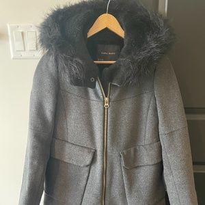 zara wool jacket gray